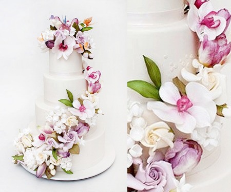 Orchid+Rose purple wedding cake